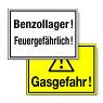 Hinweisschilder für chemische Betriebe